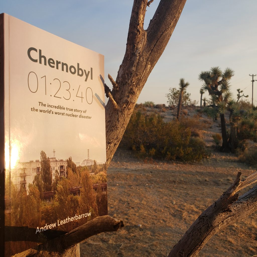Chernobyl book cover on desert background.