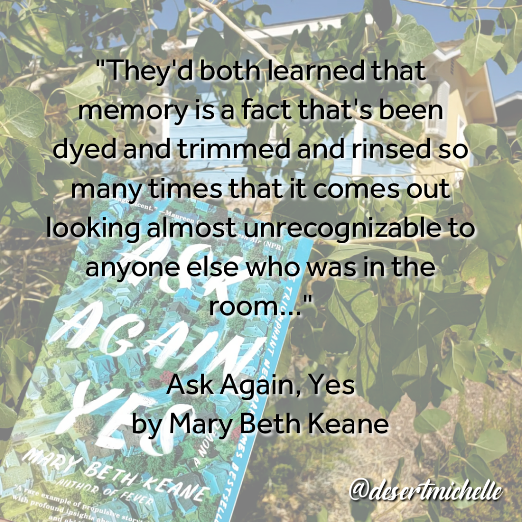 Memory quote from book on background of the book's cover.