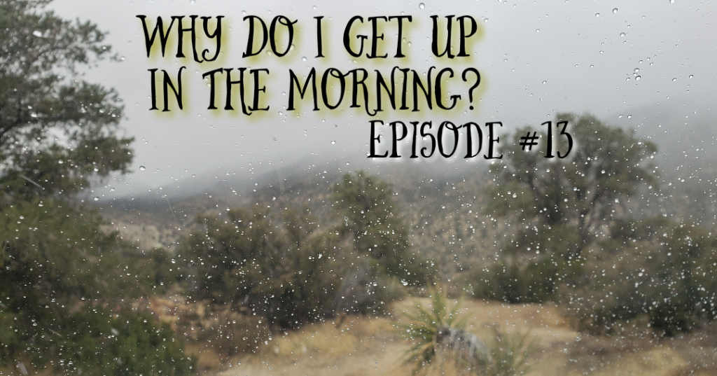 Why Do I Get Up in the Morning on a snowy background.