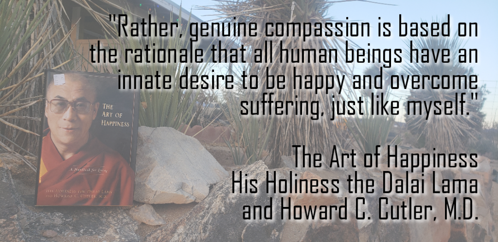Having Compassion quote on a desert background.