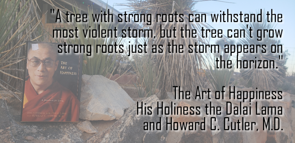 Healthy habits grow strong roots. Quote from the book on a desert background.