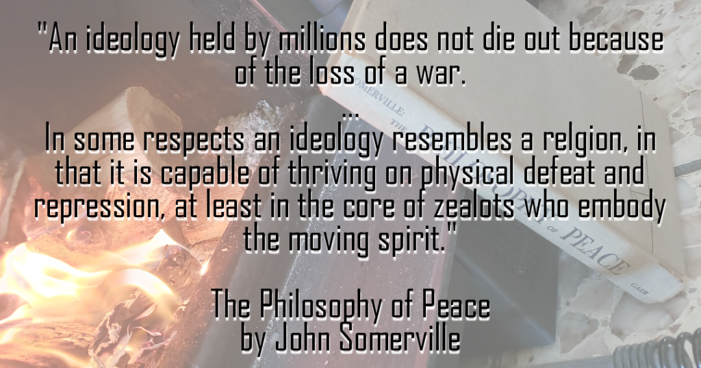 Ideology quote on a background of a fireplace with the book cover.