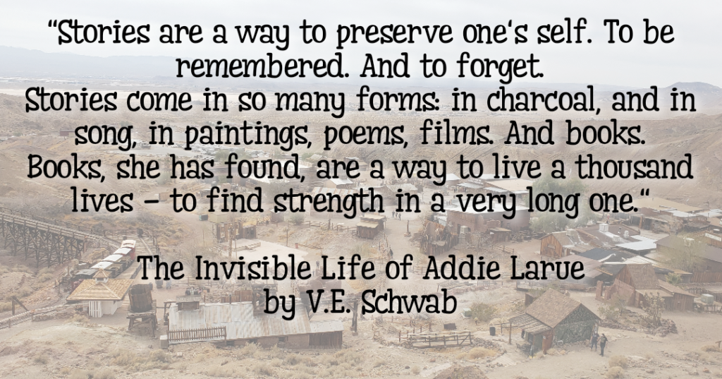 Story telling to preserve one's self quote on a desert background.